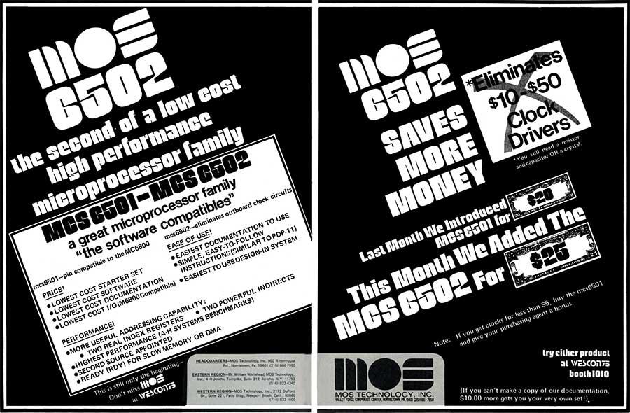 MOS 6502 pubblicità WESCON 1975