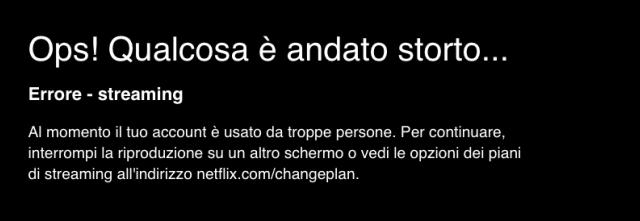 errore Netflix troppi dispositivi
