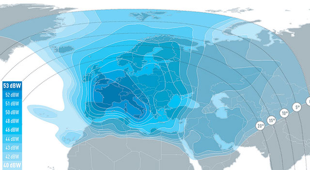 satellite HotBird13 footprint potenza segnale